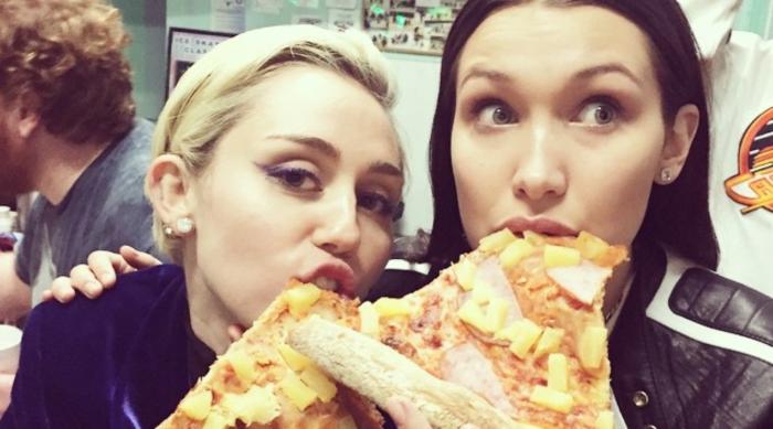 Bella Hadid and Miley Cyrus pizza