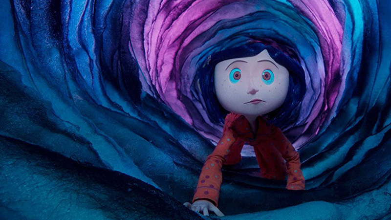 Coraline crawling through a tunnel in Coraline