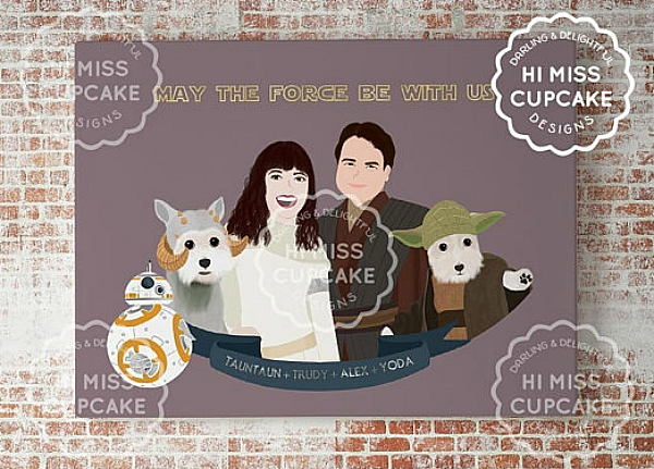 Custom couple Star Wars print