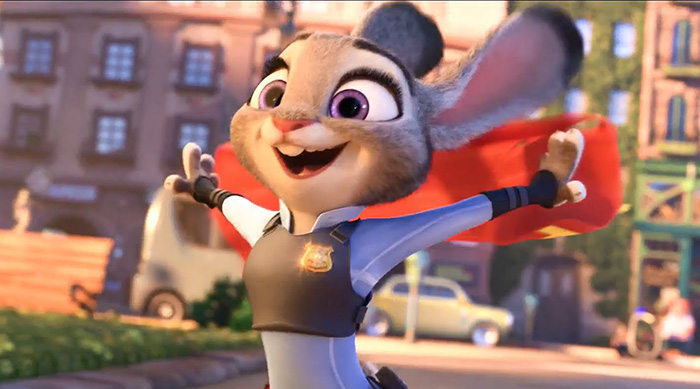 Judy Hopps taking off her traffic cop vest in Zootopia