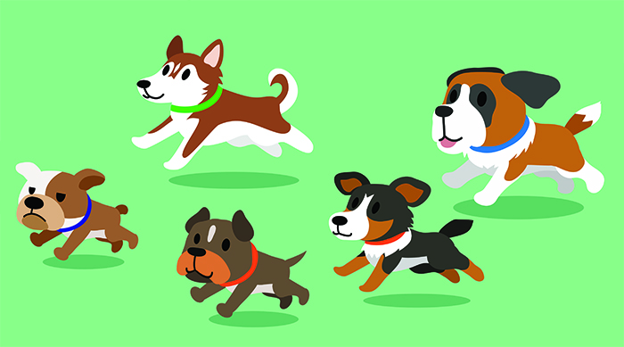 Cute cartoon dogs running on a green background