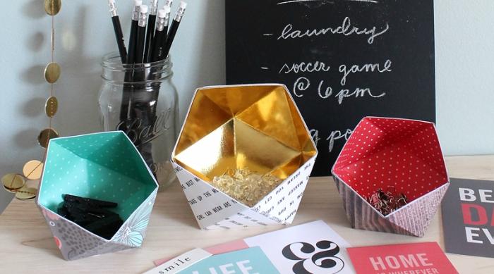 DIY geometric paper bowls