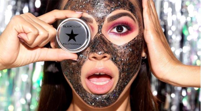 GlamGlow's Glitter Mask on model