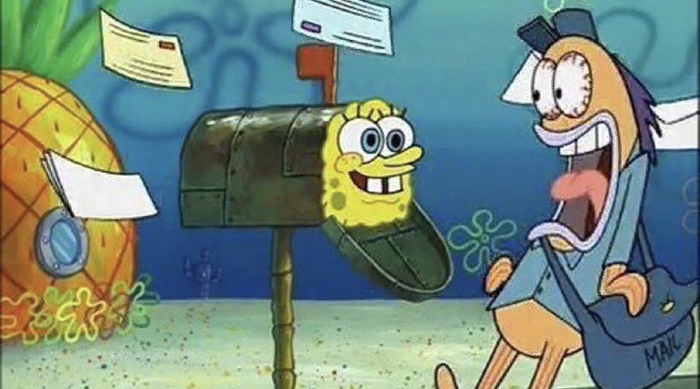 SpongeBob in the mailbox on an episode of SpongeBob SquarePants