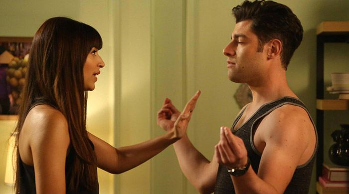 Schmidt and Cece arguing on New Girl