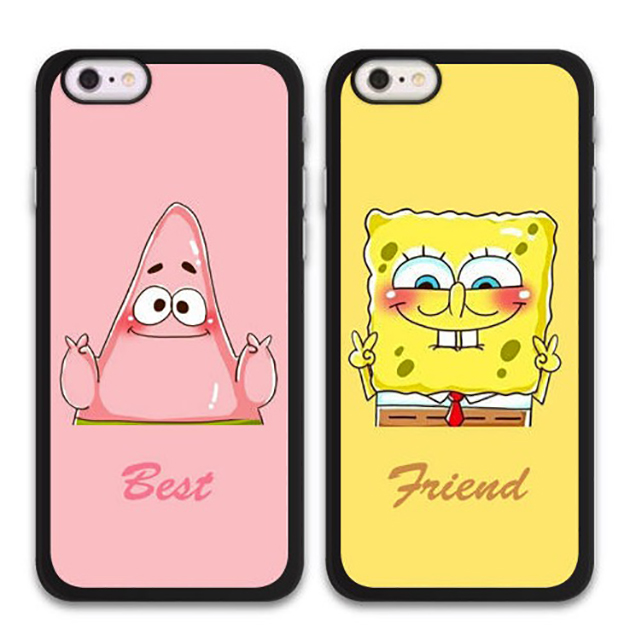 Matching BFF cell phone cases: Patrick Starr and SpongeBob SquarePants