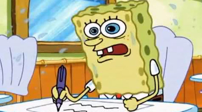 SpongeBob SquarePants worried while writing an essay