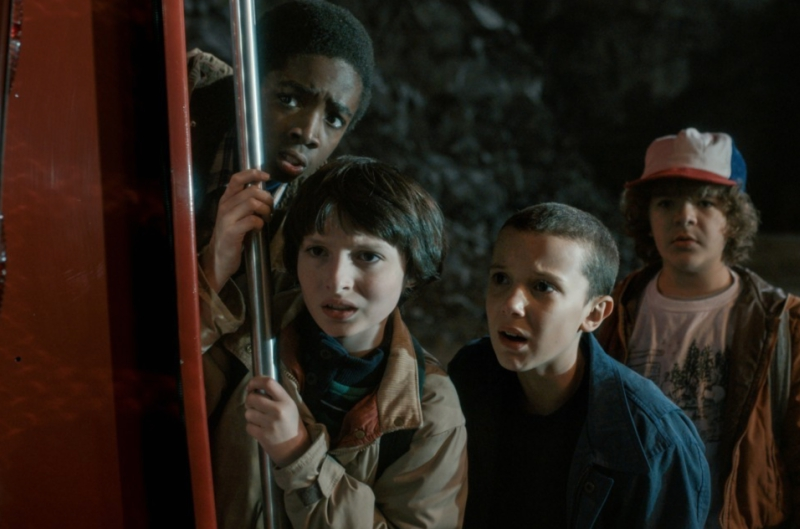 Stranger Things Mike, Eleven, Lucas, and Dustin