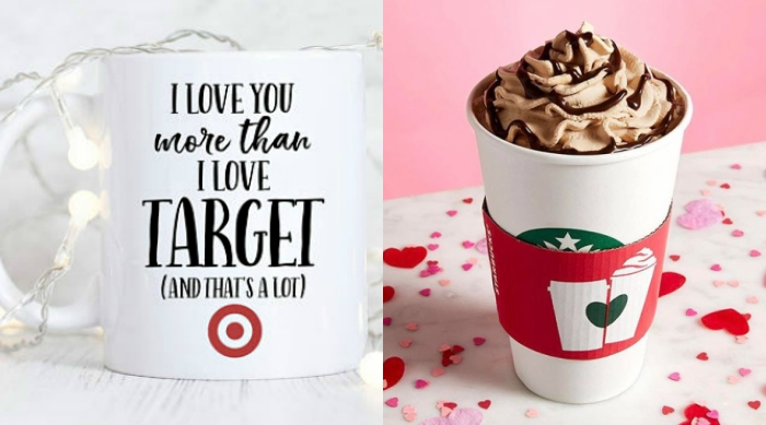 Valentine's gifts, funny mug and Starbucks