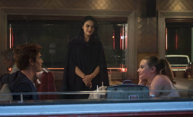 Betty, Archie, and Veronica in Pop's Diner