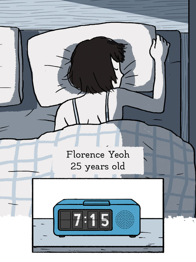 Florence Yeah, 25 years old, is woken up by her alarm