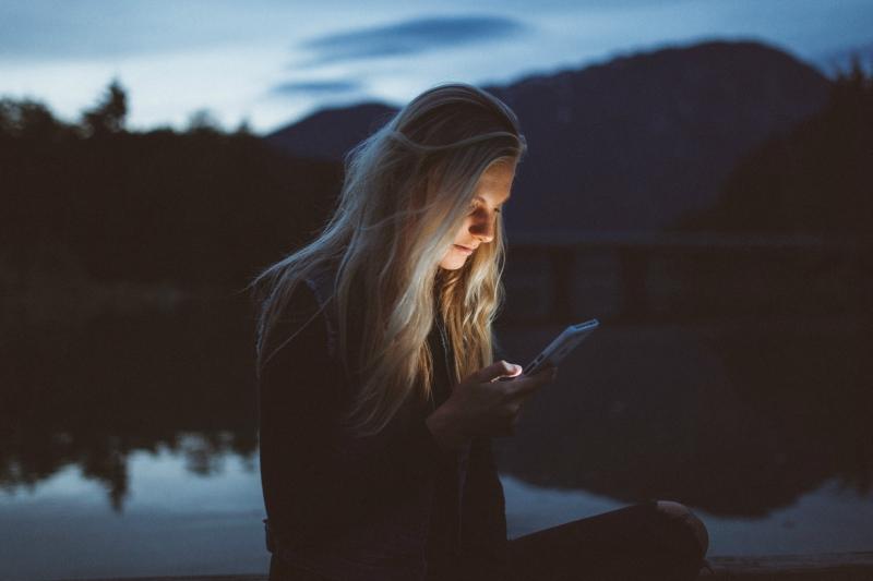 Girl Texting at Night