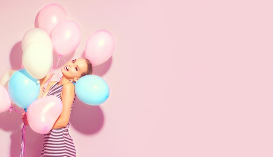 Glamorous birthday balloons