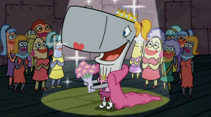SpongeBob SquarePants: Pearl holding a bouquet of flowers, wearing a cape and tiara