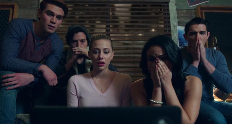 Riverdale characters watching Jason Blossom's death
