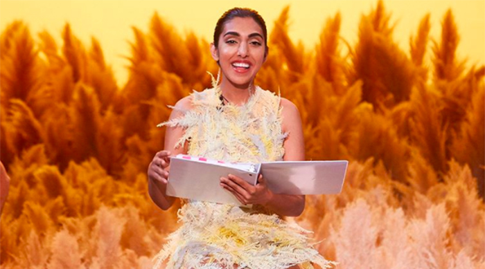 """Rupi Kuar performing a theatrical version of """"The Sun and Her Flowers"""" in NYC"""