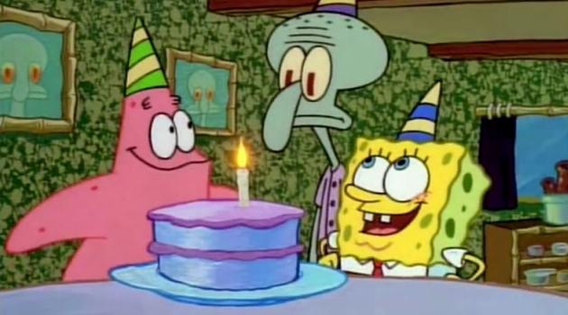 SpongeBob and Patrick celebrate Squidward's birthday