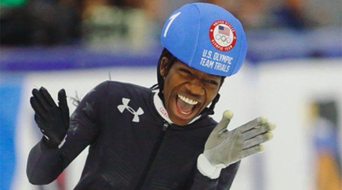 Maame Biney of Team USA at the 2018 Winter Olympics