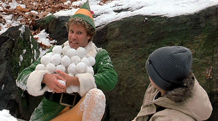Snowball fight scene in Elf