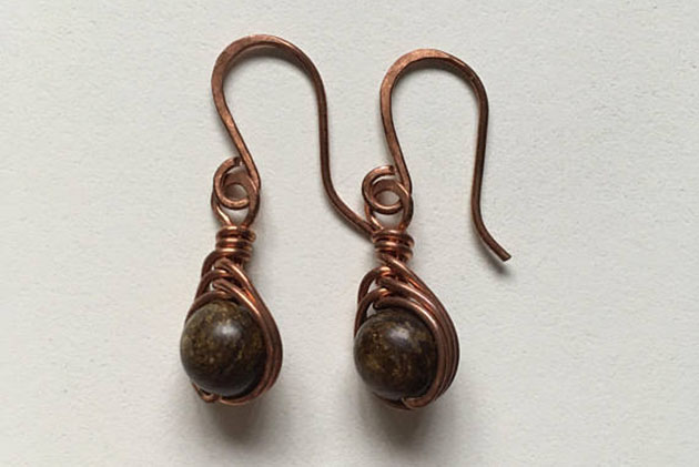 Bronzite drop earrings