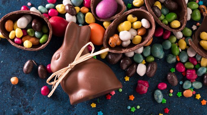Easter candy: chocolate bunny and jellybeans