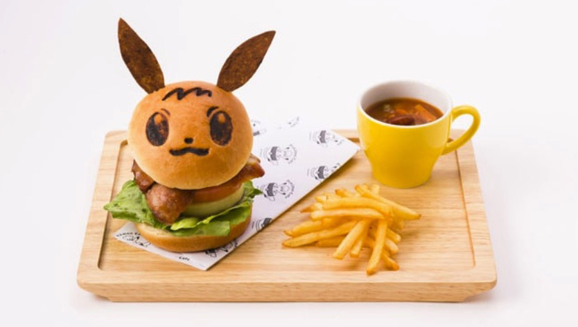 Pokémon Cafe Eevee teriyaki chicken burger