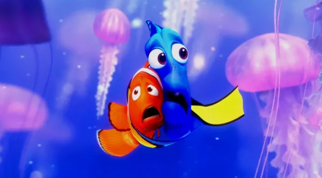 Finding Nemo: Marlin and Dory are scared of jellyfish