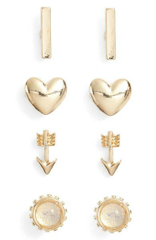 Heart and arrow studs for hopeless romantic