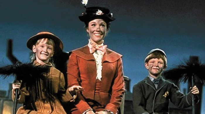 Mary Poppins on Chimney with Children
