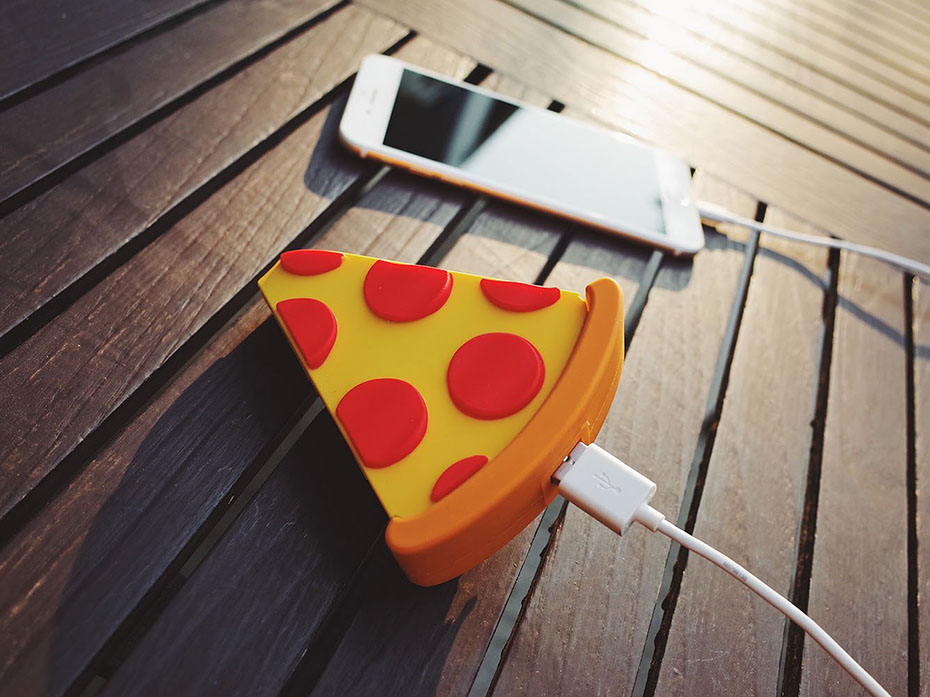 Portable pizza phone charger