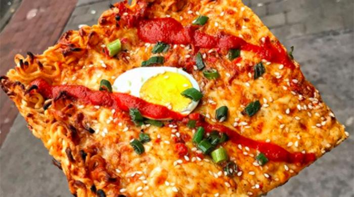 Ramen pizza from Tony Boloney's in Hoboken, New Jersey