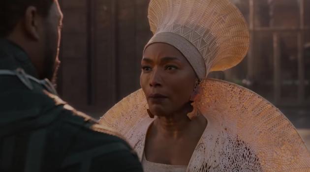 Ramonda talking to T'Challa in Black Panther