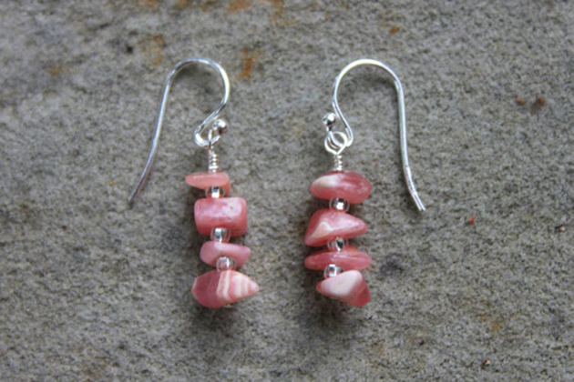 Rhodochrosite stacked gem earrings