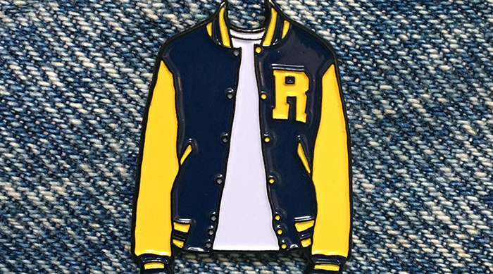 Archie letterman jacket pin from Etsy