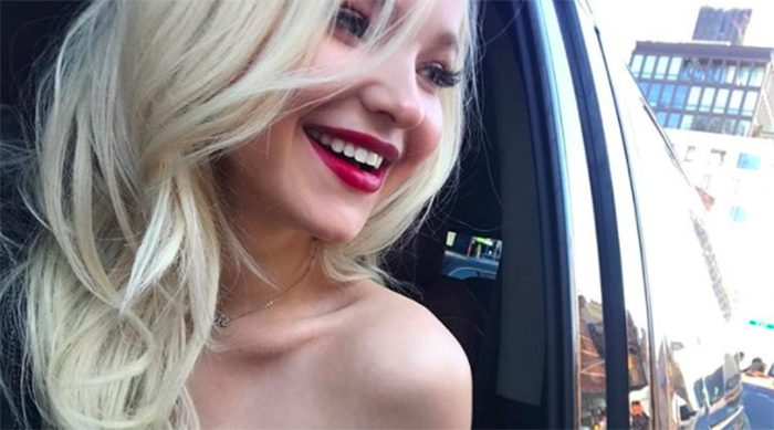 Dove Cameron selfie in a taxi