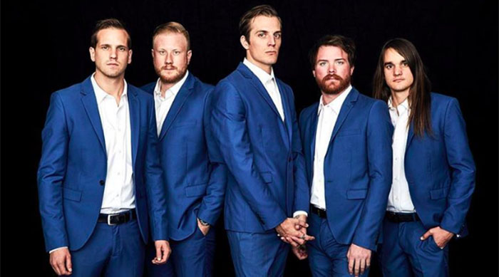 Arizona emo group The Maine wearing matching blue suits