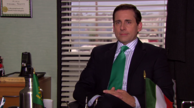 Michael Scott celebrating St. Patrick's Day on an episode of The Office