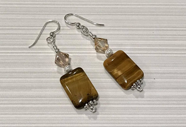Tiger's Eye dangling earrings