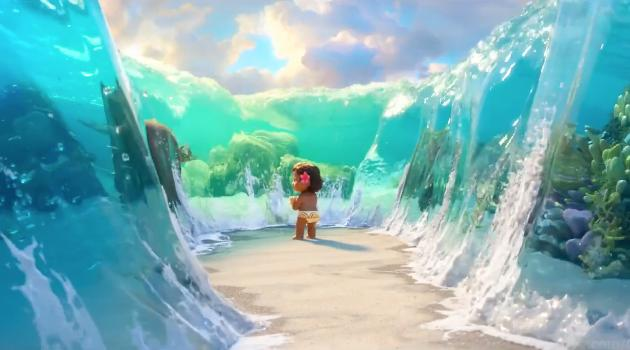 Toddler Moana in the middle of open waves