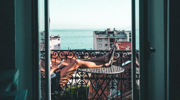 French girl in balcony