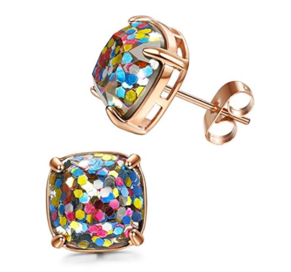 earrings with glitter