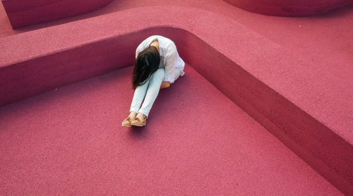 girl on pink carpet