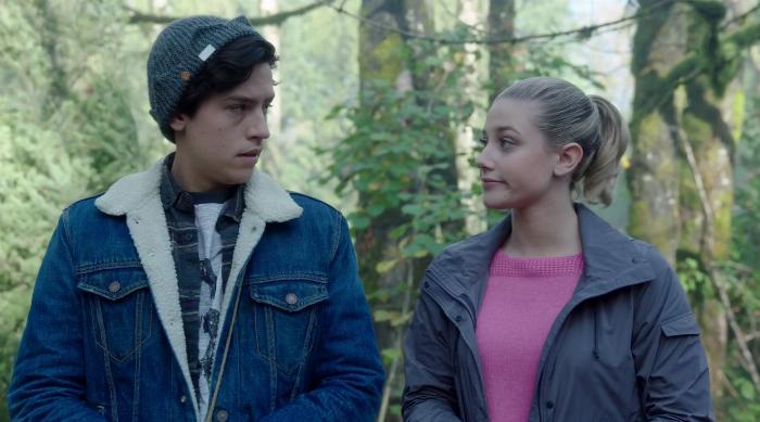 Betty and Jughead looking at each other worried on an episode of Riverdale