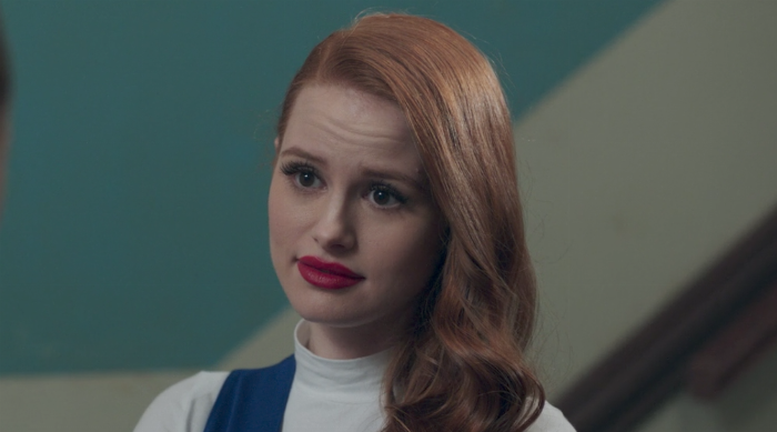 Cheryl Blossom looking snarky at someone she's talking to on Riverdale