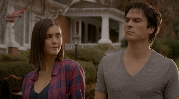 Damon and Elena in the final scene of The Vampire Diaries