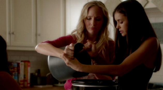 Elena and Caroline Cooking From the Vampire Diaries