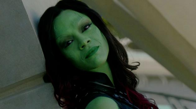 Gamora leaning in Guardians of the Galaxy