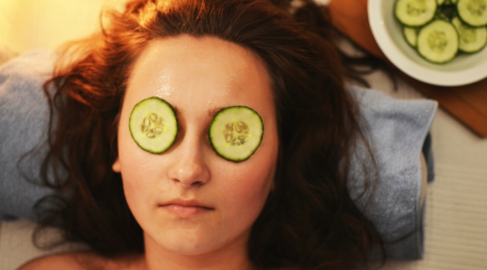 Girl With Cucumbers Over Her Eyes