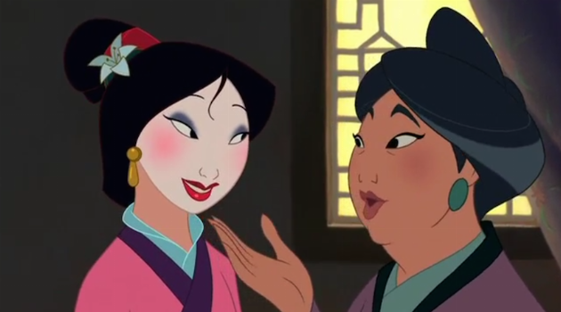 Mulan in her matchmaker outfit with her mom