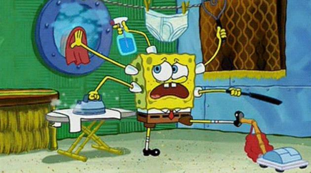 SpongeBob SquarePants cleaning furiously while stressed